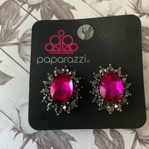Black with pink rhinestone Clip ons